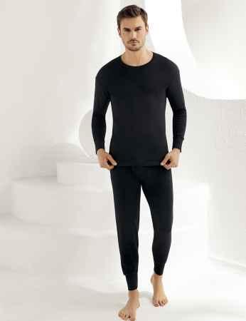 Sahinler Interlock-Unterhemd langärmelig mit rundem Ausschnitt schwarz ME016 - Thumbnail
