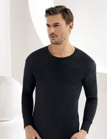 Sahinler Interlock-Unterhemd langärmelig mit rundem Ausschnitt schwarz ME016