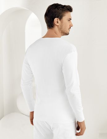 Şahinler - Sahinler Interlock-Unterhemd langärmelig mit rundem Ausschnitt weiß ME016 (1)