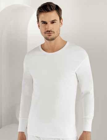 Sahinler Interlock-Unterhemd langärmelig mit rundem Ausschnitt weiß ME016 - Thumbnail
