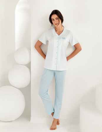 Şahinler Kadın Kısa Kol Pijama Takımı MBP25101-2 - Thumbnail