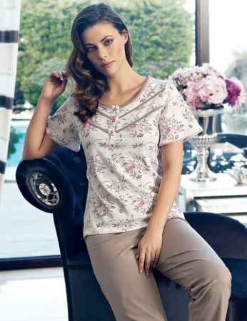 Şahinler Kadın Pijama Takımı Çiçek Desenli MBP24134-1 - Thumbnail