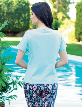 Şahinler - Şahinler Kadın Pijama Takımı Desenli Mint MBP24026-2 (1)