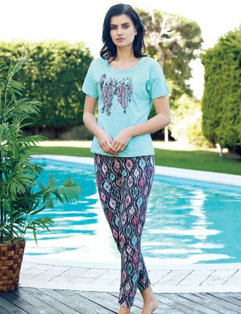Şahinler - Şahinler Kadın Pijama Takımı Desenli Mint MBP24026-2