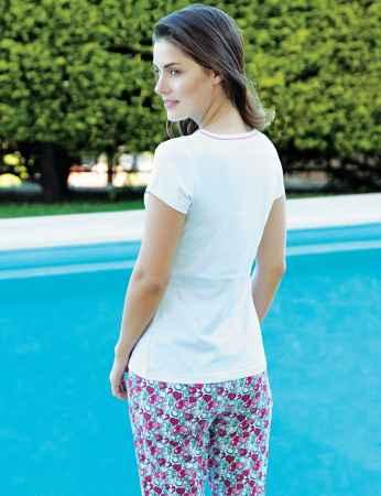 Şahinler Kalpli Kadın Pijama Takımı Beyaz MBP24011-1 - Thumbnail