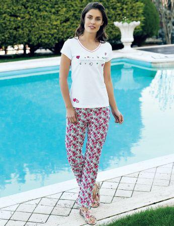 Şahinler - Şahinler Kalpli Kadın Pijama Takımı Beyaz MBP24011-1