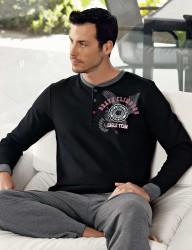 Şahinler - Şahinler Kartal Baskılı Erkek Pijama Takımı Siyah MEP23805-1