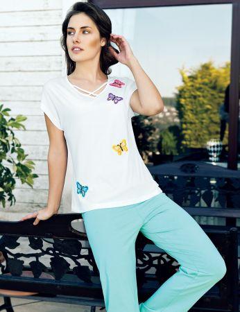 Şahinler - Şahinler Kelebek İşlemeli Kadın Pijama Takım MBP24012-1
