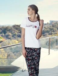 Şahinler Kısa Kollu Kadın Pijama Takımı Beyaz MBP23432-2 - Thumbnail