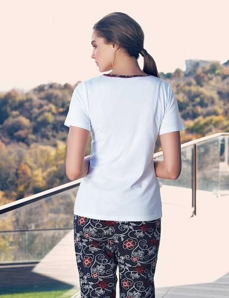 Şahinler Kısa Kollu Kadın Pijama Takımı Beyaz MBP23432-2