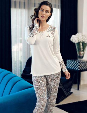 Şahinler - Şahinler Kol İşlemeli Kadın Pijama Takımı MBP24110-1
