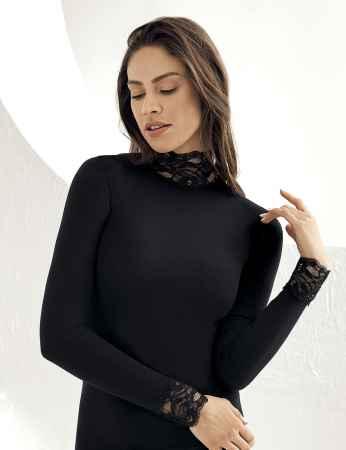 Sahinler Lace Body Turtleneck Black MB622 - Thumbnail