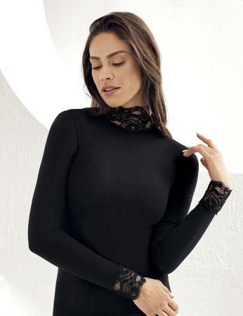 Sahinler Lace Body Turtleneck Black MB622