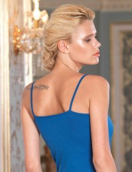 Şahinler - Sahinler Lace Chest-Waist Singlet & Brief Set Spaghetti Strap Ultramarine MB2008 (1)