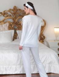 Sahinler Lace Maternity Sleepwear Set with Slipper Blue MBP23122-2 - Thumbnail