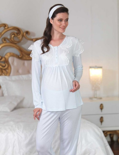 Şahinler - Sahinler Lace Maternity Sleepwear Set with Slipper Blue MBP23122-2 (1)