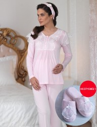Şahinler - Sahinler Lace Maternity Sleepwear Set with Slipper Pink MBP23122-1