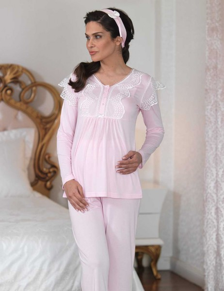 Şahinler - Sahinler Lace Maternity Sleepwear Set with Slipper Pink MBP23122-1 (1)