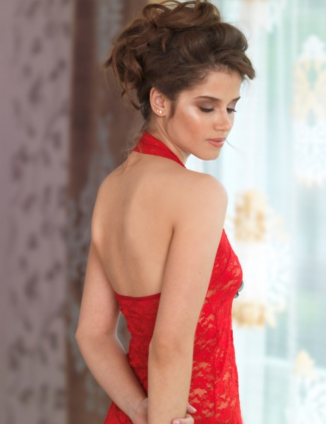 Şahinler - Sahinler Lace Morning Gown & G-String Set Red MB4015 (1)
