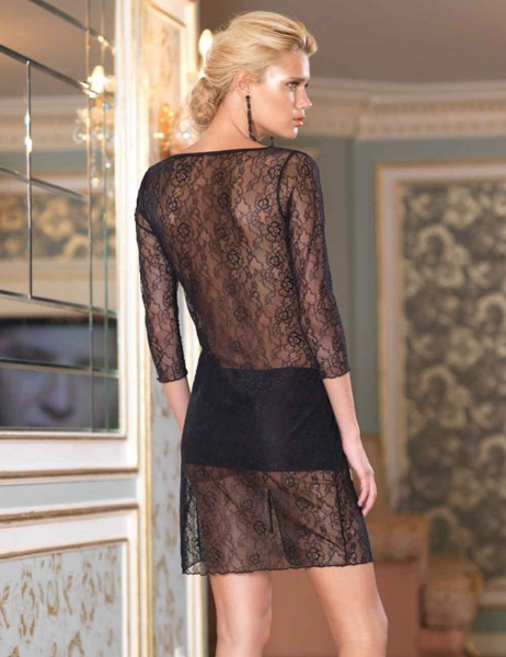 Şahinler - Sahinler Lace Nightgown Black MB1019 (1)