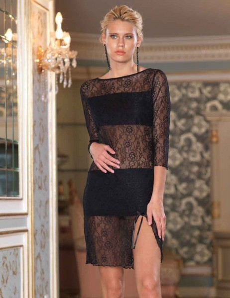 Sahinler Lace Nightgown Black MB1019