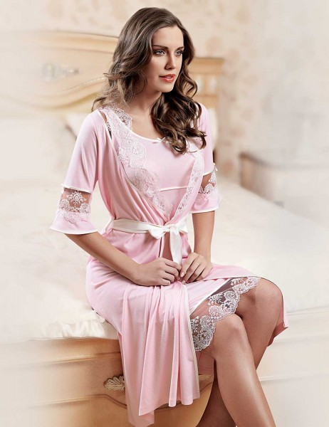 Şahinler - Sahinler Lace Nightgown & Morninggown Set Pink MBP22817-1
