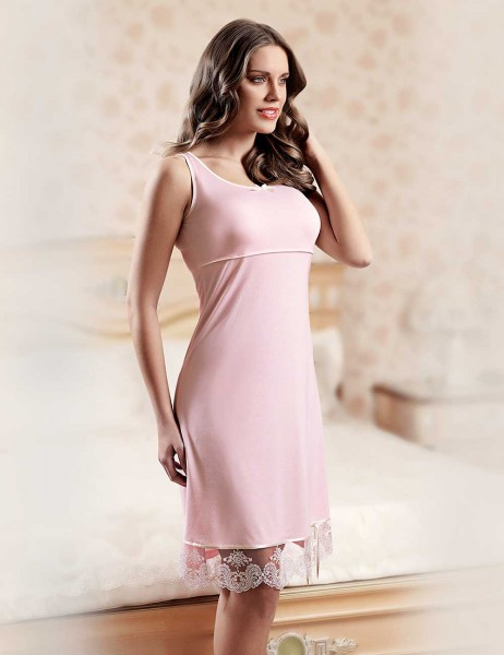 Şahinler - Sahinler Lace Nightgown & Morninggown Set Pink MBP22817-1 (1)