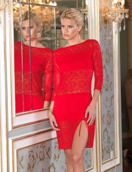 Sahinler Lace Nightgown Red MB1019