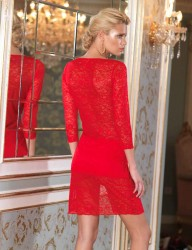 Sahinler Lace Nightgown Red MB1019 - Thumbnail