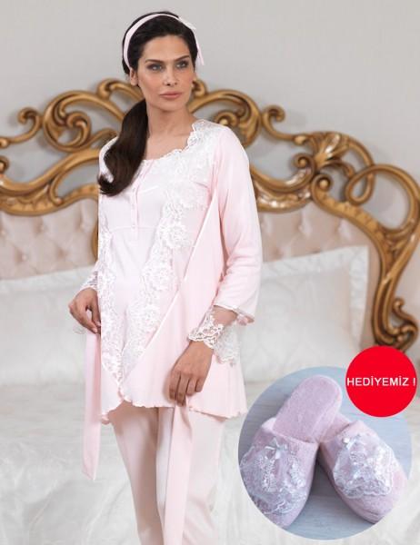 Şahinler - Sahinler Lace Puerperant Pajama Set Pink MBP23124-1