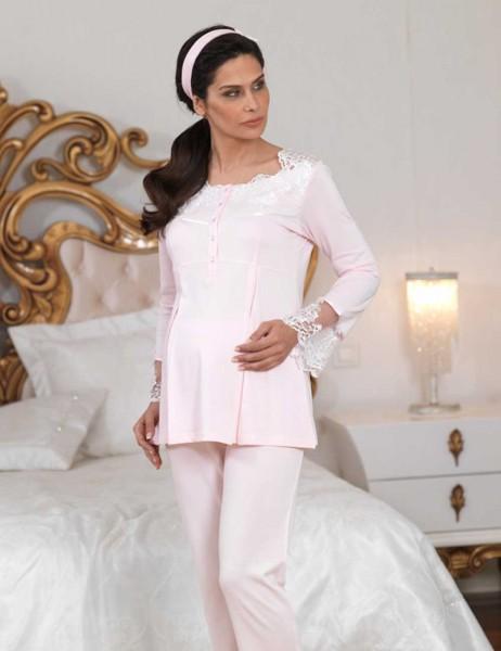Şahinler - Sahinler Lace Puerperant Pajama Set Pink MBP23124-1 (1)