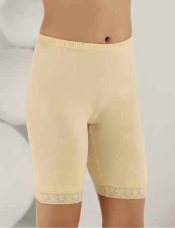 Sahinler Lace Rib Leggings Cream MB005 - Thumbnail