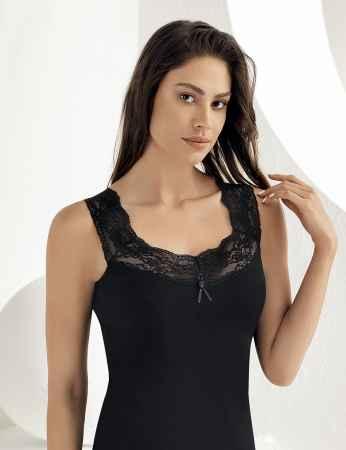 Sahinler Lace Rib Singlet Lace Low Neck & Straps Black MB600 - Thumbnail