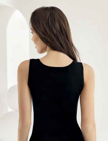 Sahinler Lace Rib Singlet Wide Straps Black MB610 - Thumbnail