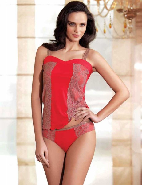 Şahinler - Sahinler Lace Singlet & Brief Set Red MB2011