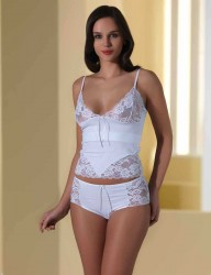 Şahinler - Sahinler Lace Singlet & Brief Set Spaghetti Strap White MB331