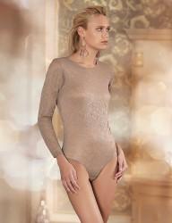 Sahinler Lace Snap Bodysuit Long Sleeve Mink MB1015 - Thumbnail