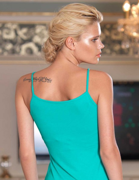 Şahinler - Sahinler Lace Tank Top & Brief Set Spaghetti Strap Green MB2005 (1)