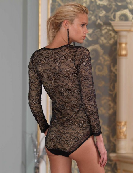 Şahinler - Sahinler Lacy Bodysuit with Snap Long Sleeve Black MB1015 (1)