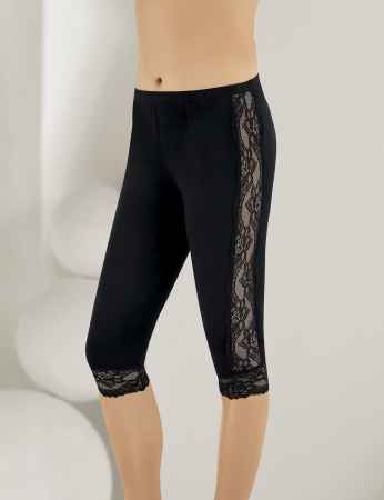 Sahinler Leggings Lace Side and Cuffs Black MB878 - Thumbnail