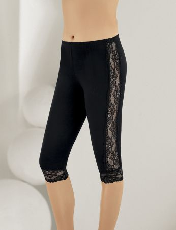 Sahinler Leggings Lace Side and Cuffs Black MB878