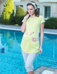 Şahinler - Şahinler Lohusa Pijama Takımı BABY Baskılı Yeşil MBP21744-2