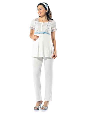 Şahinler Lohusa Pijama Takımı Mavi MBP24122-2 - Thumbnail