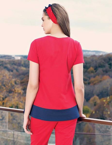Şahinler - Şahinler Lohusa Pijama Takımı Terlik Hediyeli Kırmızı MBP23416-1 (1)