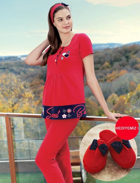 Şahinler - Şahinler Lohusa Pijama Takımı Terlik Hediyeli Kırmızı MBP23416-1