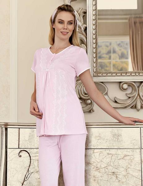 Şahinler Lohusa Pijama Takımı Terlik Hediyeli Pembe MBP23411-2