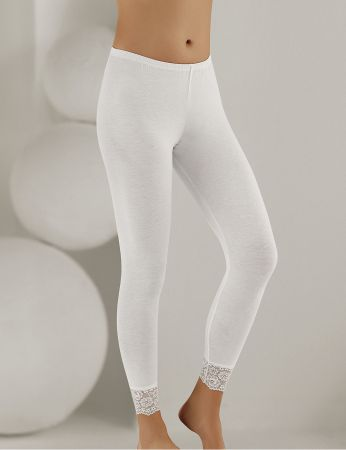 Sahinler Long Leggings Lace Cuff White MB888