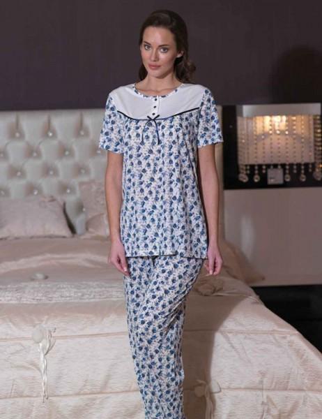 Şahinler - Sahinler Long Mom Pajamas Blue ( Suprise Gift ) MBP21539-1