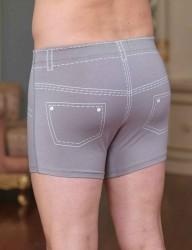 Sahinler Lycra Boxer-Short mit Jeans-Zeichen-Aufdruck hell grau ME106 - Thumbnail