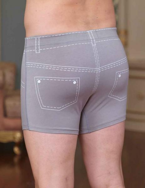 Sahinler Lycra Boxer-Short mit Jeans-Zeichen-Aufdruck hell grau ME106